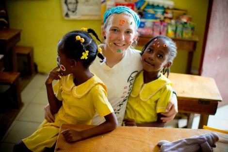 Kadee with kids in Jamaica